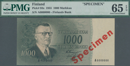 "Finland / Finnland: Finlands Bank 1000 Markkaa 1955 SPECIMEN, P.93s With Red Overprint ""Specimen"" An - Finlandia"