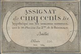 France / Frankreich: République Française Set With 4 Banknotes 500 Francs Assignat February 08th 179 - 1955-1959 Sobrecargados (Nouveau Francs)