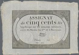 France / Frankreich: République Française 500 Francs Assignat February 08th 1794, P.A77, Great Condi - 1955-1959 Sobrecargados (Nouveau Francs)