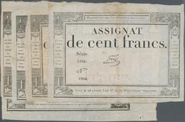 France / Frankreich: République Française Set With 5 Banknotes 100 Francs Assignat January 7th 1795, - 1955-1959 Sobrecargados (Nouveau Francs)