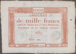 France / Frankreich: République Française 1000 Francs Assignat January 7th 1795, P.A80, Excellent Co - 1955-1959 Sobrecargados (Nouveau Francs)