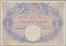 France / Frankreich: Banque De France, Nice Set With 3 Banknotes 50 Francs 1913 (VF), 1915 (F+), 191 - 1955-1959 Sobrecargados (Nouveau Francs)