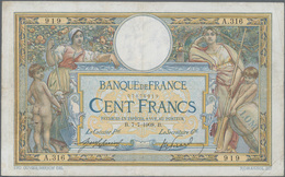 "France / Frankreich: Banque De France 100 Francs 1908 With ""LOM 02"" On The Bale At Lower Right, P.69 - 1955-1959 Sobrecargados (Nouveau Francs)"