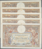 France / Frankreich: Banque De France Set With 5 Banknotes 100 Francs 1932, 1933, 1934, 2x 1936, P.7 - 1955-1959 Sobrecargados (Nouveau Francs)