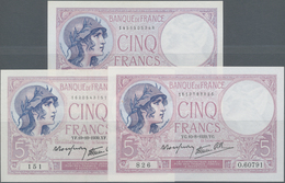France / Frankreich: Banque De France Set With 3 Banknotes 5 Francs 1939 With Signature Title: Le Ca - 1955-1959 Sobrecargados (Nouveau Francs)