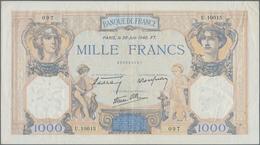 """France / Frankreich: Banque De France Set With 3 Banknotes 1000 Francs 1931, 1932, 1936, P.90c """"Cérè - 1955-1959 Sobrecargados (Nouveau Francs)"""