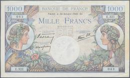 "France / Frankreich: Set Of 9 MOSTLY CONSECUTIVE Notes 1000 Francs ""Commerce & Industrie"" 1940-44 P. - 1955-1959 Sobrecargados (Nouveau Francs)"