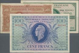 France / Frankreich: Very Nice Set With 3 Banknotes Comprising 100 Francs 1943 Trésor Central (issue - 1955-1959 Sobrecargados (Nouveau Francs)