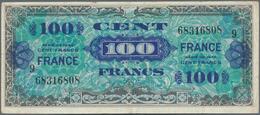 "France / Frankreich: Pair Of The 100 Francs Allied Forces 1944, Both With Block Number ""9"", P.123d I - 1955-1959 Sobrecargados (Nouveau Francs)"