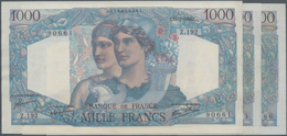 "France / Frankreich: Banque De France Set With 3 Banknotes 1000 Francs 1946/49/50 ""Minerve Et Hercul - 1955-1959 Sobrecargados (Nouveau Francs)"