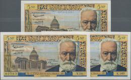 """France / Frankreich: Banque De France Set With 3 Banknotes 5 Nouveaux Francs 1955/60/65 """"Victor Hugo - 1955-1959 Sobrecargados (Nouveau Francs)"""