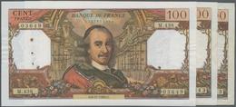 """France / Frankreich: Banque De France Set With 3 Banknotes 100 Francs 1965/69/70 """"Pierre Corneille"""", - 1955-1959 Sobrecargados (Nouveau Francs)"""