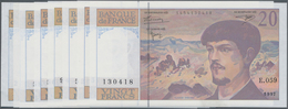 """France / Frankreich: Banque De France Set With 8 Banknotes 20 Francs 1980-97 """"Claude Debussy"""", P.151 - 1955-1959 Sobrecargados (Nouveau Francs)"""