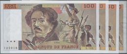 "France / Frankreich: Banque De France Set With 4 Banknotes 100 Francs 1990/91/93/95 ""Ferdinand-Victo - 1955-1959 Sobrecargados (Nouveau Francs)"