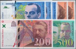France / Frankreich: Banque De France Set With 7 Banknotes 3x 50, 2x 100, 200 And 500 Francs 1992-19 - 1955-1959 Sobrecargados (Nouveau Francs)