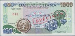 "Ghana: Bank Of Ghana 1000 Cedis 1991 SPECIMEN, P.29as With Red Overprint ""Specimen"" And Specimen Num - Ghana"