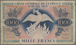 Guadeloupe: Caisse Centrale De La France D'Outre-Mer 1000 Francs 1944 With Watermark, P.30b, Extraor - Banknoten