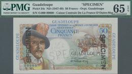 Guadeloupe: Caisse Centrale De La France D'Outre-Mer - Guadeloupe 50 Francs ND(1947-49) SPECIMEN, P. - Banknoten
