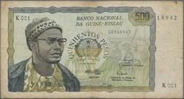 Guinea Bissau: Banco Nacional Da Guiné-Bissau 500 Pesos 1975, P.3, Toned Paper With Several Folds An - Guinea-Bissau