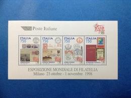 1997 ITALIA FOGLIETTO NUOVO ITALY SHEET NEW MNH** ESPOSIZIONE MONDIALE DI FILATELIA ITALIA 98 - 6. 1946-.. Repubblica