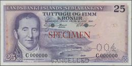 Iceland / Island: Lot 4 Specimen Banknotes: 25 Kronur 1957 Specimen P. 39s, 100 Kronur 1961 P44s, 50 - Iceland