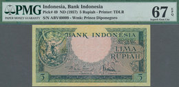 Indonesia / Indonesien: Bank Indonesia 5 Rupiah ND(1957), P.49 In Perfect Uncirculated Condition And - Indonesien