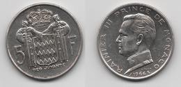 + MONACO + 5 FRANCS 1966 + TRES TRES BELLE + - 1960-2001 Nouveaux Francs