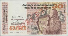 Ireland / Irland: Central Bank Of Ireland 50 Pounds 1980-92 SPECIMEN, P.74s, Almost Perfect Conditio - Irlanda