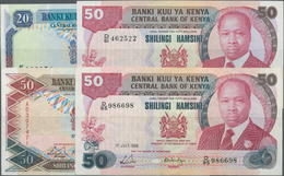 Kenya / Kenia: Central Bank Of Kenya Set With 4 Banknotes 20 Shillings 1989 P.25b (VF+/XF), 50 Shill - Kenia