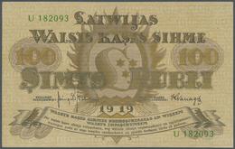 """Latvia / Lettland: Latwijas Walsts Kaşes 100 Rubli 1919, Series """"U"""" And Signature Kalnings & Vanags, - Lettland"""
