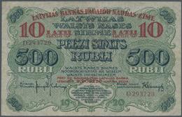 Latvia / Lettland: Latvijas Bankas 10 Latu 1920 Overprint On 500 Rubli #8, P.13, Very Popular Note I - Lettland
