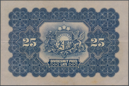 Latvia / Lettland: Latvijas Bankas 25 Lati 1928, P.18a, Great Original Shape With Crisp Paper And Ve - Lettland