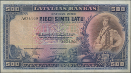 Latvia / Lettland: Latvijas Bank 500 Latu 1929, P.19a, Always A Very Popular Note In Still Nice Cond - Lettonie