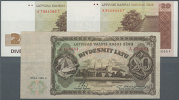 Latvia / Lettland: Set With 3 Banknotes 20 Latu 1935 P.30 (VF), 20 Latu 1992 P.45 (UNC) And 20 Latu - Lettland