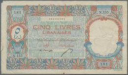 Lebanon / Libanon: Banque De Syrie Et Du Liban 5 Livres 1950, P.49, Still Strong Paper With A Few Fo - Libano