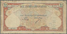 Lebanon / Libanon: Banque De Syrie Et Du Liban 10 Livres 1950, P.50a, Small Border Tears With Lightl - Libano