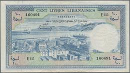Lebanon / Libanon: Banque De Syrie Et Du Liban 100 Livres 1958, P.60a, Stronger Center Fold, Some Ot - Libano