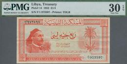 Libya / Libyen: Kingdom Of Libya ¼ Libyan Pound 1952, P.14, Still Great Original Shape With Strong P - Libya
