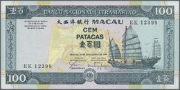 Macau / Macao: Banco Nacional Ultramarino Set With 3 Banknotes 100 Patacas 1984 P.61b (UNC), 50 And - Macau