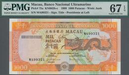 Macau / Macao: Banco Nacional Ultramarino 1000 Patacas 1999, P.75a, Perfect Condition And PMG Graded - Macau