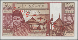 Mauritania / Mauretanien: Banque Centrale De Mauritanie 200 Ouguiya 1973 SPECIMEN, P.2s, Red Overpri - Mauritanien