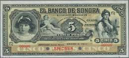 Mexico: El Banco De Sonora 5 Pesos 1911 SPECIMEN, P.S419s, Punch Hole Cancellation And Red Overprint - Mexiko