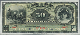 Mexico: El Banco De Sonora 50 Pesos 1899-1911 SPECIMEN, P.S422s, Punch Hole Cancellation And Red Ove - Mexiko