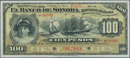 Mexico: El Banco De Sonora 100 Pesos 1911 SPECIMEN, P.S423s, Punch Hole Cancellation And Red Overpri - Mexiko