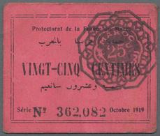 Morocco / Marokko: Protectorat De La France Au Maroc Set With 3 Banknotes 2x 25 Centimes 1919 P.4a ( - Marocco