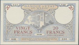 Morocco / Marokko:  Banque D'État Du Maroc 20 Francs 1920-26 Front Proof SPECIMEN, P.12s In Perfect - Marocco