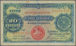 """Mozambique: Banco Nacional Ultramarino – """"Lourenco Marques"""" 20 Centavos 1914, P.60 Stronger Fold At - Mozambique"""