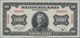 Netherlands / Niederlande: 100 Gulden Muntbiljet 1943 SPECIMEN, P.69s With Red Serial Number 000000, - Netherlands
