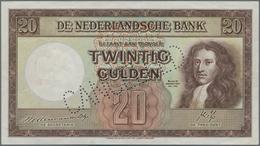 """Netherlands / Niederlande: 20 Gulden 1945 SPECIMEN, P.76s With Perforation """"Cancelled"""" And Serial Nu - Netherlands"""