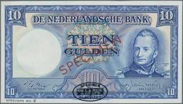 """Netherlands / Niederlande: 10 Gulden 1949 DLR SPECIMEN, P.83s, Red Overprint """"Specimen"""", Black Oval - Paises Bajos"""